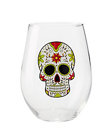 Sugar Skull Stemless Wine Glasses - 20 oz
