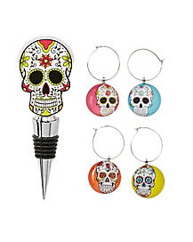 Sugar Skull Wine Charms and Bottle Stopper Set
