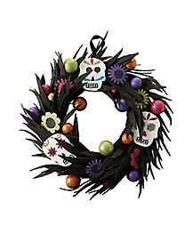 Glitter Sugar Skull Wreath - Decorations
