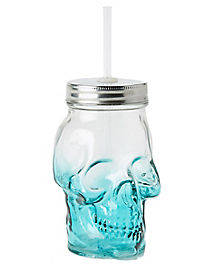 Teal Ombre Skull Glass With Straw