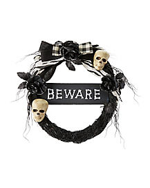 Beware Skull Wreath - Decorations