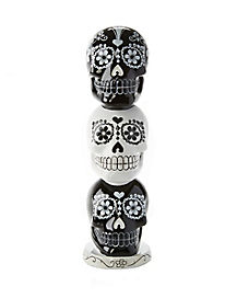 11 Inch Three Tiered Sugar Skull Figurine - Decorations