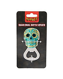 Teal and Gold Sugar Skull Bottle Opener