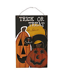 Trick Or Treat Cat and Pumpkin Sign - Decorations