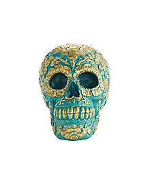 Teal and Gold Sugar Skull Figurine - Decorations