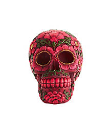 Pink and Green Skull Figurine - Decorations