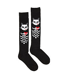 Skeleton Cat Knee High Socks