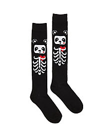 Skeleton Panda Knee High Socks