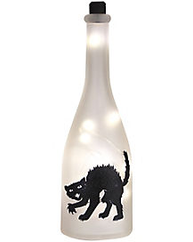 White Frosted Light Up Cat Bottle - Decorations