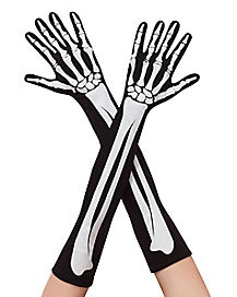 Skeleton Print Arm Gloves