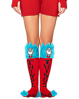 Thing 1 and 2 Faux Fur Socks - Dr. Seuss