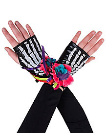 Decorated Skeleton Fingerless Gloves