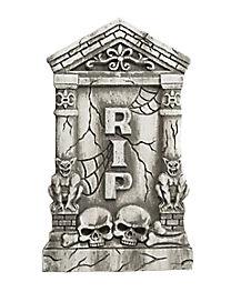 2 Ft Skull and Gargoyle Tombstone - Decorations