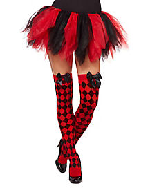 Checkered Jester Thigh High Stockings