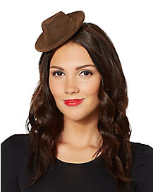 Brown Fedora Mini Hat Fascinator