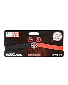 Deadpool Dangle Earring and Choker Set - Marvel Comics