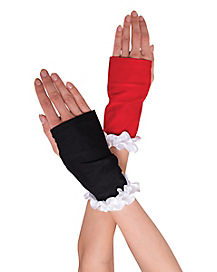 Black and Red Ruffle Gloves