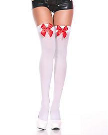 Satin Bow Thigh High Stockings