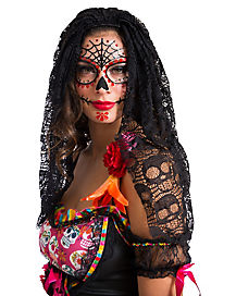 Adult Black Decorated Skull Veil