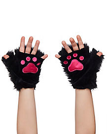 Kids Faux Fur Black Kitty Paws
