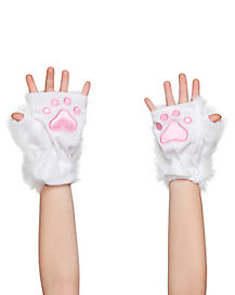 Kids Faux Fur White Kitty Paws