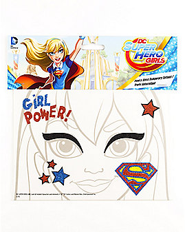 Supergirl Face Tattoo - DC Super Hero Girls