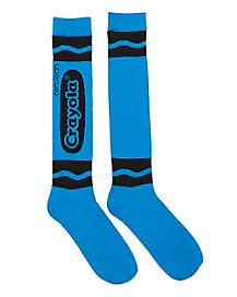Cerulean Blue Crayon Knee High Socks - Crayola