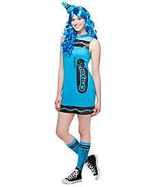 Adult Cerulean Blue Crayon Dress Costume - Crayola