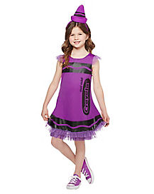 Kids Vivid Violet Crayon Dress Costume - Crayola