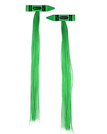Green Crayon Hair Extensions - Green