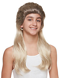 Kids Blonde Mullet Wig