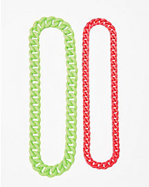 Pink and Green Chain Necklace