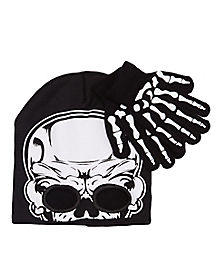 Skeleton Beanie and Glove Set