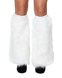 Adult White Furries Faux Fur Leg Warmers