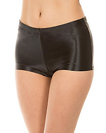 Black Satin Boy Shorts