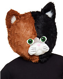 Faux Fur Calico Cat Mascot Mask