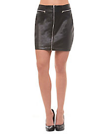 Faux Leather Zipper Skirt