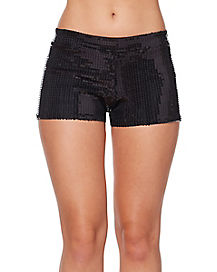 Adult Black Sequin Shorts