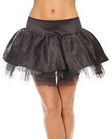 Black Satin Skirt with Tulle