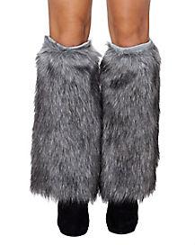 Grey Wolf Furries Faux Fur Leg Warmers