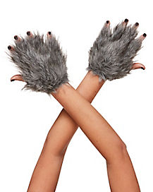 Faux Fur Wolf Gloves