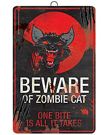 16 Inch Zombie Cat Metal Sign - Decorations