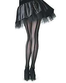 Sheer Tights with Velvet Backseam
