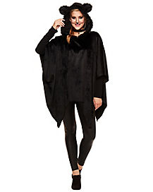 Faux Fur Black Cat Poncho