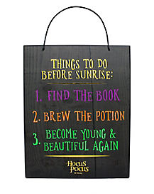 Things to Do Before Sunrise Hocus Pocus Sign Decorations - Hocus Pocus