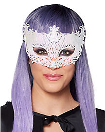Intricate White Glitter Eye Mask