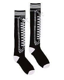 Lace Up Sneaker Knee High Socks