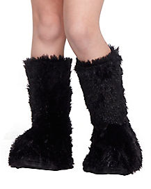 Kids Black Faux Fur Boot Covers