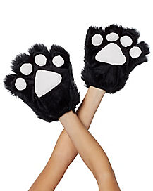 Black Faux Fur Animal Paws