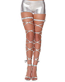 Alien Silver Metallic Leg Wrap